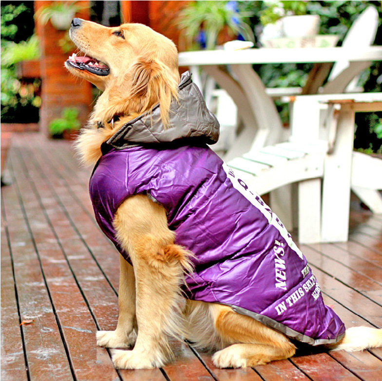 Winter Large Big Dog Clothes Waterproof Warm Cotton Padded Coat