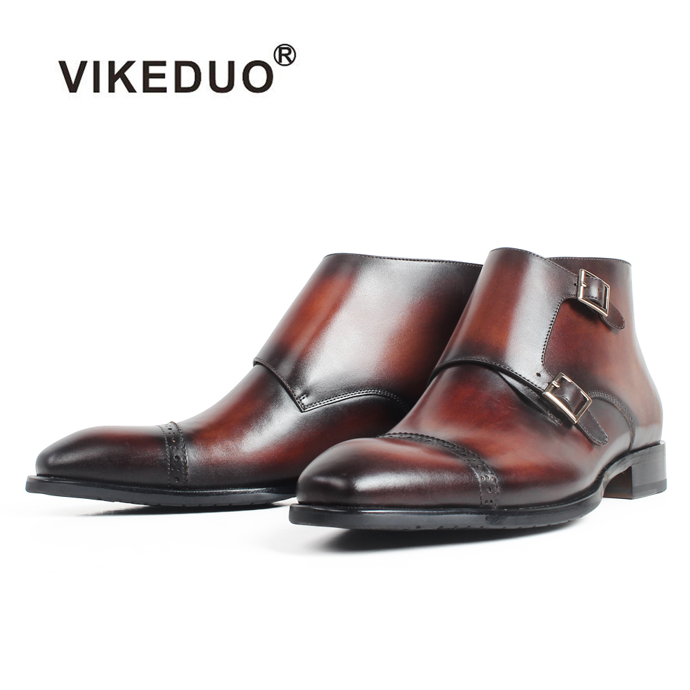 VIKEDUO Handmade Genuine Leather Ankle Boots Patina Blake Bespoke Monk Boots Male Buckle Classic Autumn Botas Hombre Brogue Shoe