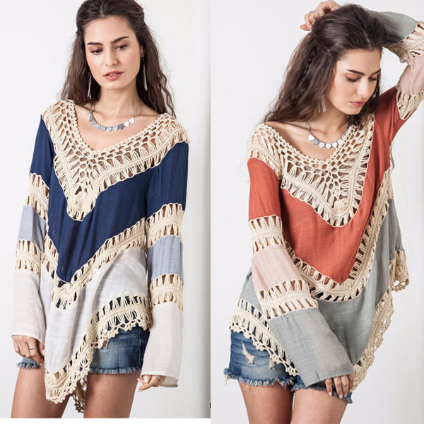 Mujer blusas nuevo MultiColor Crochet encaje de manga larga túnica ...