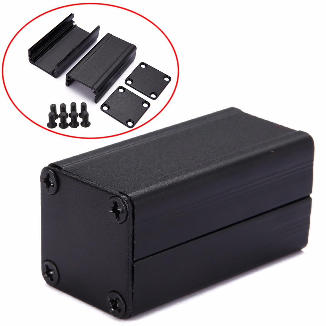 Black DIY PCB Instrument Electronic Project Box Extruded Aluminum Enclosure Case 50*25*25mm For Holding Circuit Board black extruded aluminum enclosure box pcb instrument box diy electronic project case 80x50x20mm