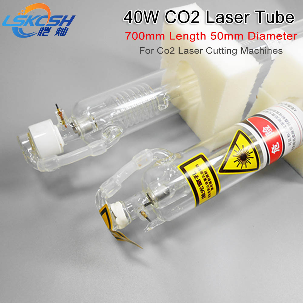 цена 2 Pieces 40W Co2 Laser Tube 700mm Length Dia 50mm for Co2 laser stamp engraving machines 320/640/K40 with one wooden case