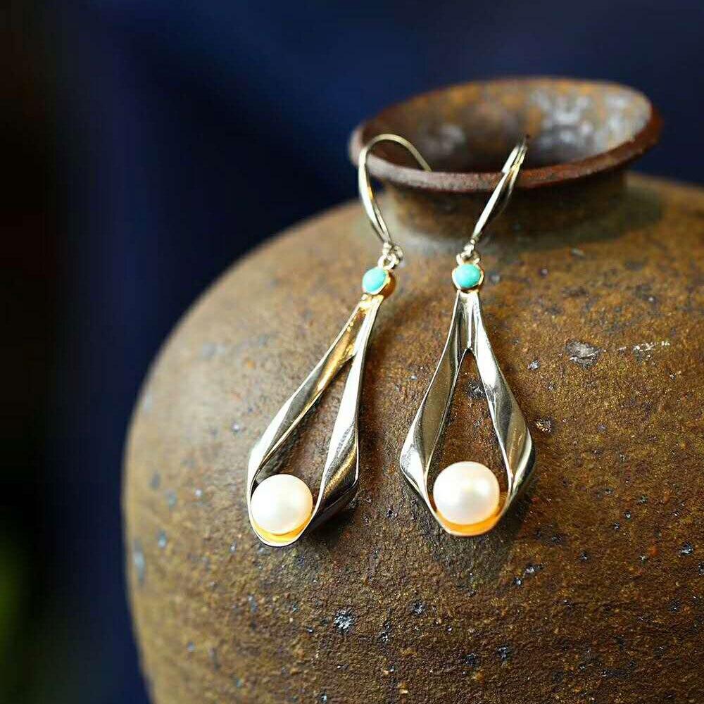 Boucles d'oreilles RADHORSE véritable 925 argent Sterling perle Turquoise géométrie modélisation boucle d'oreille femme Style classique bijoux fins