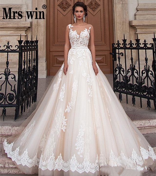 Robe De Mariee Grande Taille 2020 New Mrs Win Classic Lace Embroidery Lace Up Princess Wedding Gown Custom Vestido De Novias F