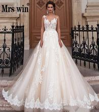 Robe De Mariee Grande Taille 2020 New Mrs Win Classic Lace Embroidery Lace Up Princess Wedding Gown Custom Vestido De Novias F