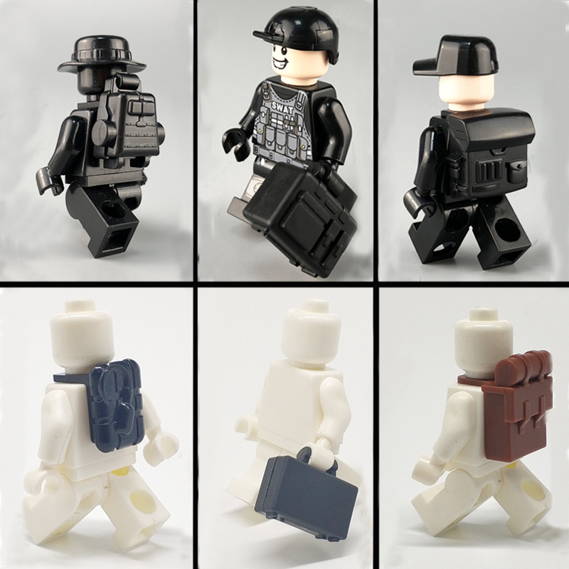 WW2 Military Parts Block SWAT Weapons Accessories Building Blocks Bricks City Police Soldiers Figure Backpacks Toys LegoINGlys 6pcs set military series 2 8cm ak weapons cannon bricks parts army police swat block gun building blocks models toys