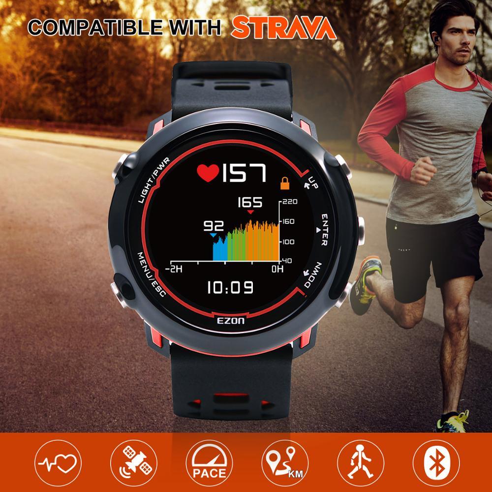 Montre numérique intelligente GPS pour homme avec fréquence cardiaque au poignet et affichage couleur pour Sports de course en plein air montres numériques EZON E2-in Montres sport from Montres    1