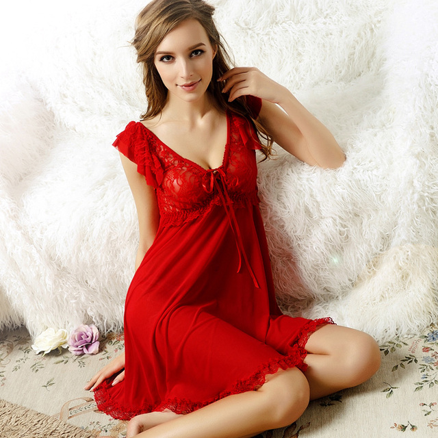 Sexy Women Sleepwear With G-String Thongs Hot Nightdress Deep V-Neck Sleeveless Nightgown Plus Size Nightwear Mujer High Quality