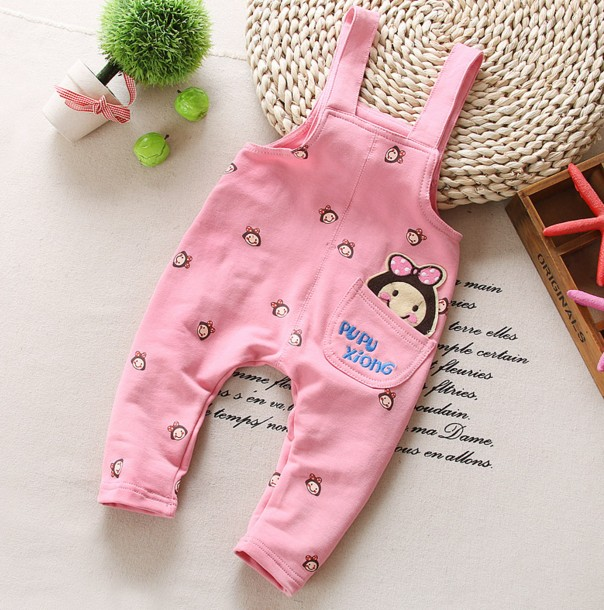 0-2Y new 2016 spring baby girl knitting cartoon overall baby boy overall pant girls jeans baby romper children clothing