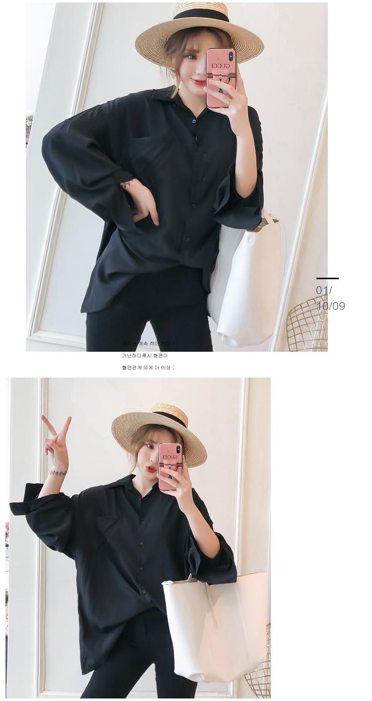 Women Oversized Shirts Black Top Boy Friend Style Shirt Woman Leisure Blouse Back Crochet Tops Loose Fitting Turn Down Collar Shirt (10)