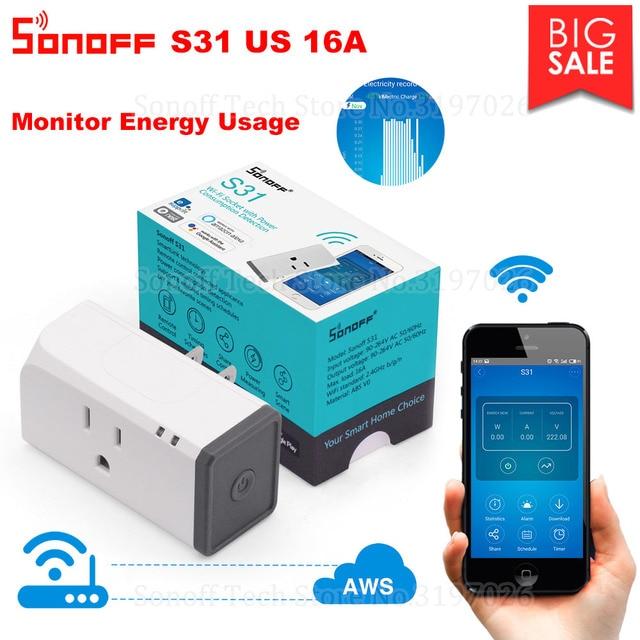 Itead Sonoff S31 US 16A Smart WiFi Socket Monitor uso de energía salida remota interruptor Wi-fi funciona con Alexa Google Home asistente