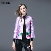 XXL Coat Women Outerwear Autumn Spring Fashion Ladies Lotus Floral Embroidery Light Blue Purple Color Small