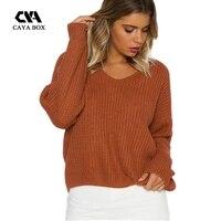 CAYA HỘP v cổ ren lên crop áo len phụ nữ womens jumpers 2017 áo thun pin backless tops