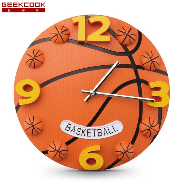 12 Inch Creative Football And Basketball Wall Clock Boys Bedroom ...
