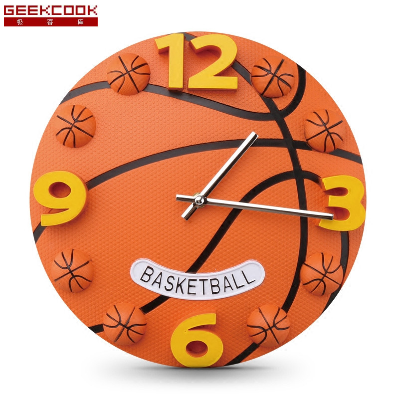 12 Inch Creative Football And Basketball Wall Clock Boys Bedroom Wall Watch Plastic Modern Mute Sports Clock Wall