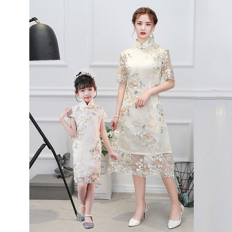 Mère fille famille look robe chinoise qipao dentelle cheongsam moderne adolescente robe de soirée parent-enfant jeune fille robe fête