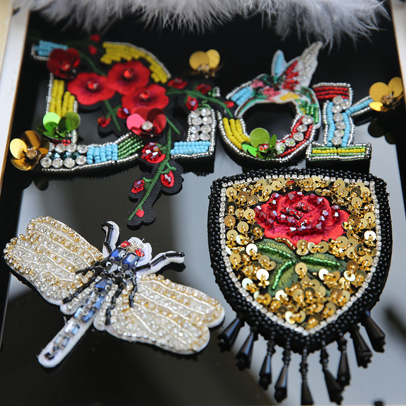 Fashion embroidery ink dragonfly patch roses badge clothes for 48 lighted crystal 3 d outdoor christmas wreath decoration