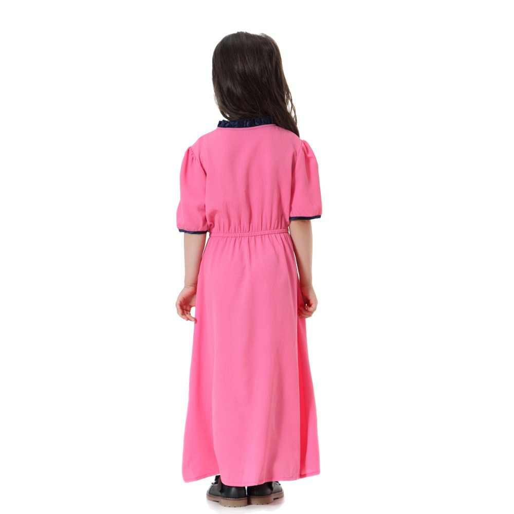 0b0d1e74d2bb6 Fashion Child Muslim Girl dress black rose green abaya islamic Southeast  Asia Children baya dresses Traditional Kids clothing