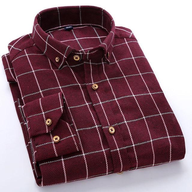 Botón-abajo A Cuadros de Manga Larga Ocasional de los hombres Camisas A  Cuadros Clásicos f127446791f30