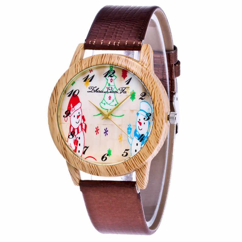 Correa de cuero para mujer reloj Casual reloj 2019 Navidad muñeco de nieve relojes mujer simular madera Dial regalo de Navidad reloj de pulsera
