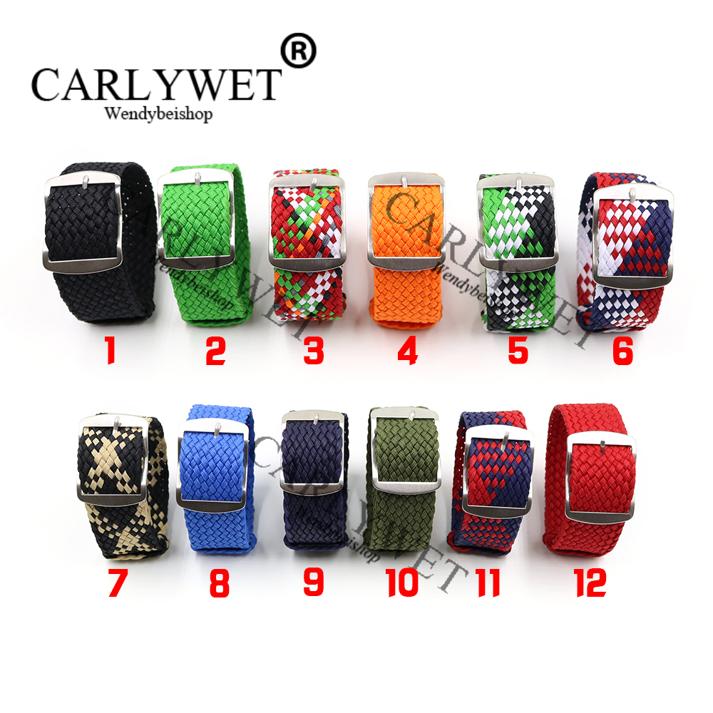 CARLYWET 20 22mm Wholesale New Style Perlon Nylon Replacement Vintage Wrist Watch Band Belt Strap With Brushed Buckle carlywet new style men women black strap silicone rubber replacement watch band belt special popular