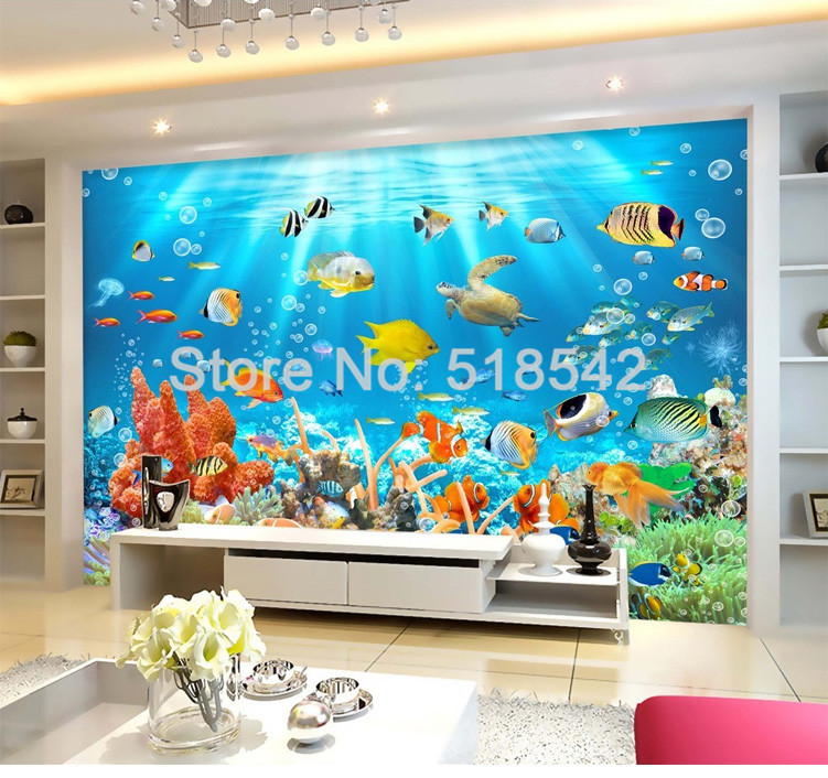HTB184KVPVXXXXamXFXXq6xXFXXXD - Custom Photo Mural Non-woven Embossed Wallpaper Underwater World Fish Coral Children Room Living Room Wall Decoration Wallpaper