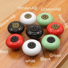 Red green white black ceramic ktichen cabinet drawer  pulls knobs 32mm ceramic children room furniture handles pull knob