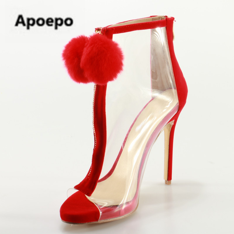 Apoepo Red Pom Poms Peep Toe Sandals Boots Clear PVC Front Zip Stiletto High Heels Ankle Boots Summer Shoes Woman Big Size 2018 pom pom front zipper design stiletto heels