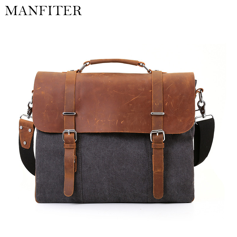 ФОТО MANFITER Canvas Document Mens Messenger Bags Men Travel Bag Leather Briefcases Vintage Crossbody Satchel Fit 15.6'' Laptop Bag