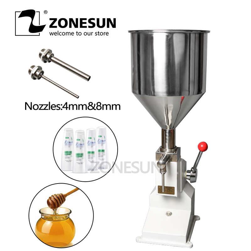 ZONESUN  A03 Manual Hand Pressure Cream Paste Filler Soap Juice Honey Arequipe Food Filling Machine 5-50ML