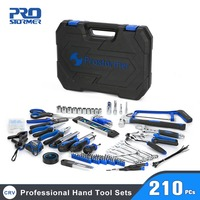 Prostormer 210 pcs Hand Tool Set General Household Repair Tool Kit with Storage Plastic Toolbox Hammer Plier Screwdriver Knife