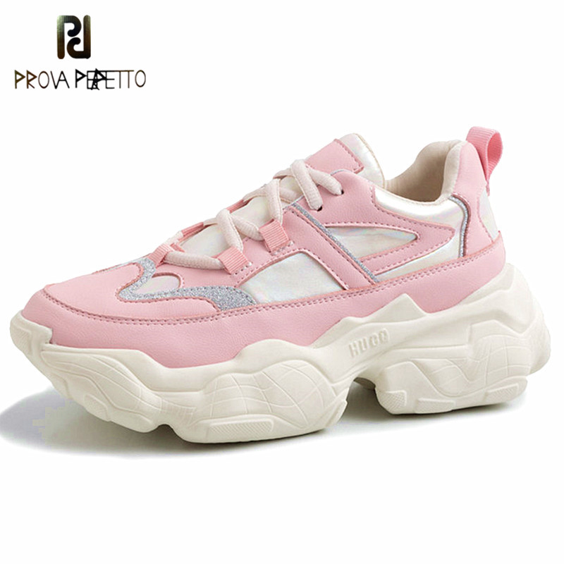 Prova Perfetto New Fashion Sneakers Lace-Up Casual Shoes Genuine Leather Thick Soles Shoes Flat Walking Footwear Shoes For GirlsProva Perfetto New Fashion Sneakers Lace-Up Casual Shoes Genuine Leather Thick Soles Shoes Flat Walking Footwear Shoes For Girls