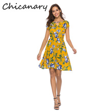 Chicanary Floral Print Key Hole Dresses Women Short Sleeve Summer Dress One-pieces