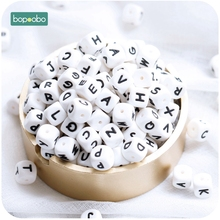 Bopoobo 100pc Silicone Beads Baby Teething Letters Rattle Pearl Teether 12mm