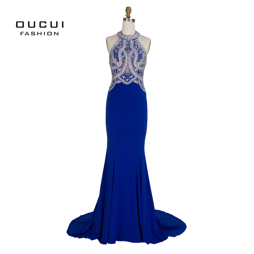 Real Photos Mermaid High Neck Prom Gown Hand Made Crystal Beading Long   Evening     Dress   OL102858