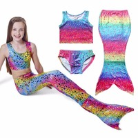 4d57bf7b210a3 Mermaid Swimwear For Girl 3 Pieces Bikini Sets Polka Dot Kids Swimsuits For  Girls Barthing Suits