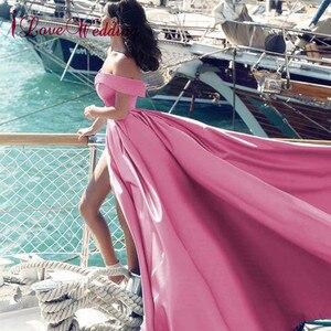 Image 2 - Heißer Verkauf 2020 Rosa Abendkleider Sexy V ausschnitt Weg Von der Schulter Satin EINE Linie Elegante Lange Prom Party Kleid vestido de Festa Curto