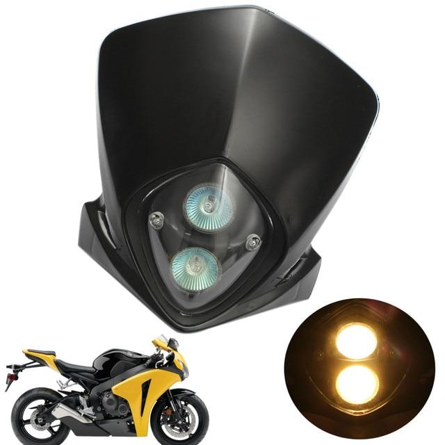 Universal Motorcycle ATV Street Dirt Bike Streetfighter Head Lights Motorbike Headlight Lamp Halogen Bulb Black Case