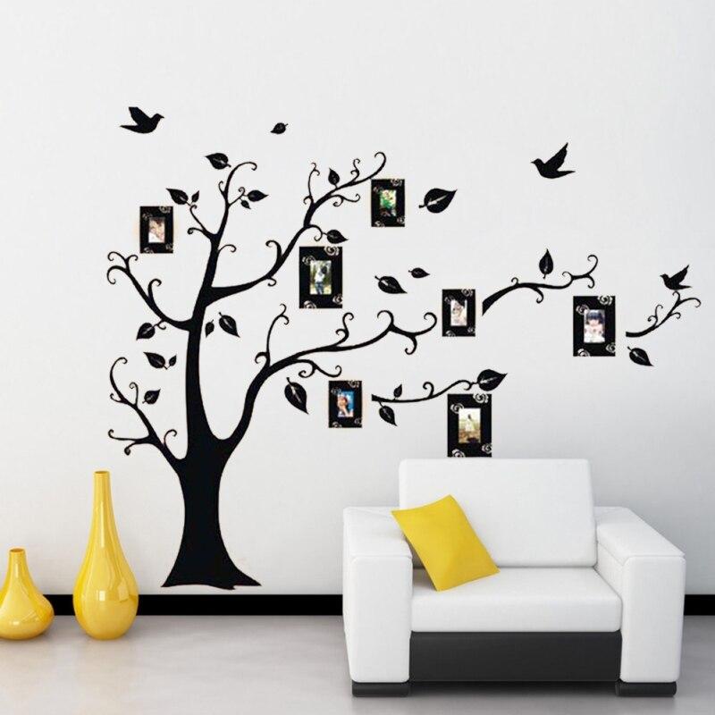 Φ_ΦExtraíble PVC familia foto Marcos árbol negro Adhesivos de pared ...