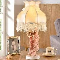 따뜻한 핑크 램프 침대 옆 램프 로맨틱 공주 옷장 어린이 방 레이스 소녀 블루 작은 테이블 램프