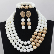 Coral African Wedding Beads Jewelry Set White Coral Bead 14MM with Gold Copper Ball Bridesmaid Jewelry