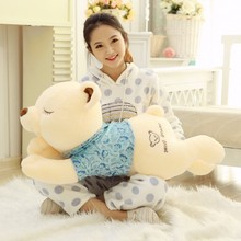 big plush lovely lying blue cloth bear toy squinting bear doll gift about 110cm