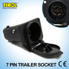 Tirol 7 Pin TrailerSocket 7 Way Round Trailer RV Light Plug Connector Female 12V Tow bar Towing Vehicle End T21848b