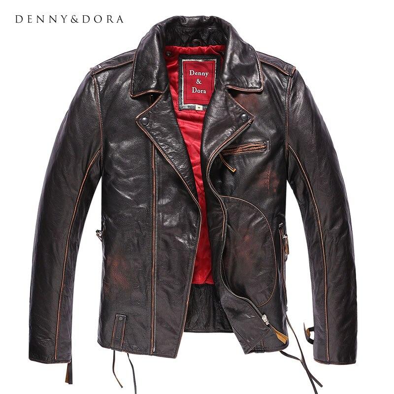 Chaqueta de cuero de piloto Original para hombre, motocicleta auténtica, chaqueta Vintage para hombre, con forro rojo, cuello de solapa de muesca