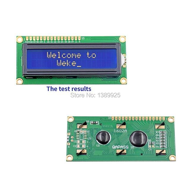 Freies Verschiffen 10 teile/los Neue LCD 1602 LCD1602 5V 16x2 Zeichen LCD Display Modul Controller blauen schwarzlicht