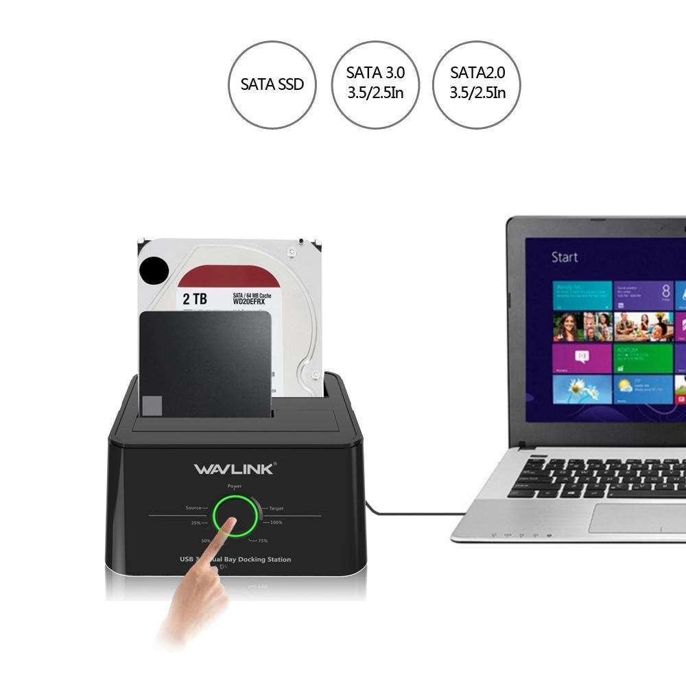 USB C Wavlink 3.1 vers SATA 2 baie Station d'accueil pour disque dur 5Gbps 12 to pour 2.5/3.5 pouces HDD/SSD Clone hors ligne et sauvegarde à un bouton - 2