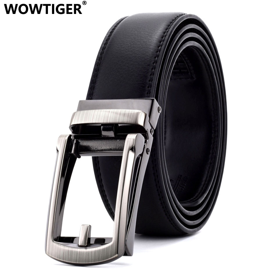 WOWTIGER Black white width 35mm Cowhide genuine Leather   Belt   For Men High Quality Male Automatic Buckle Brand Luxury mens   belts
