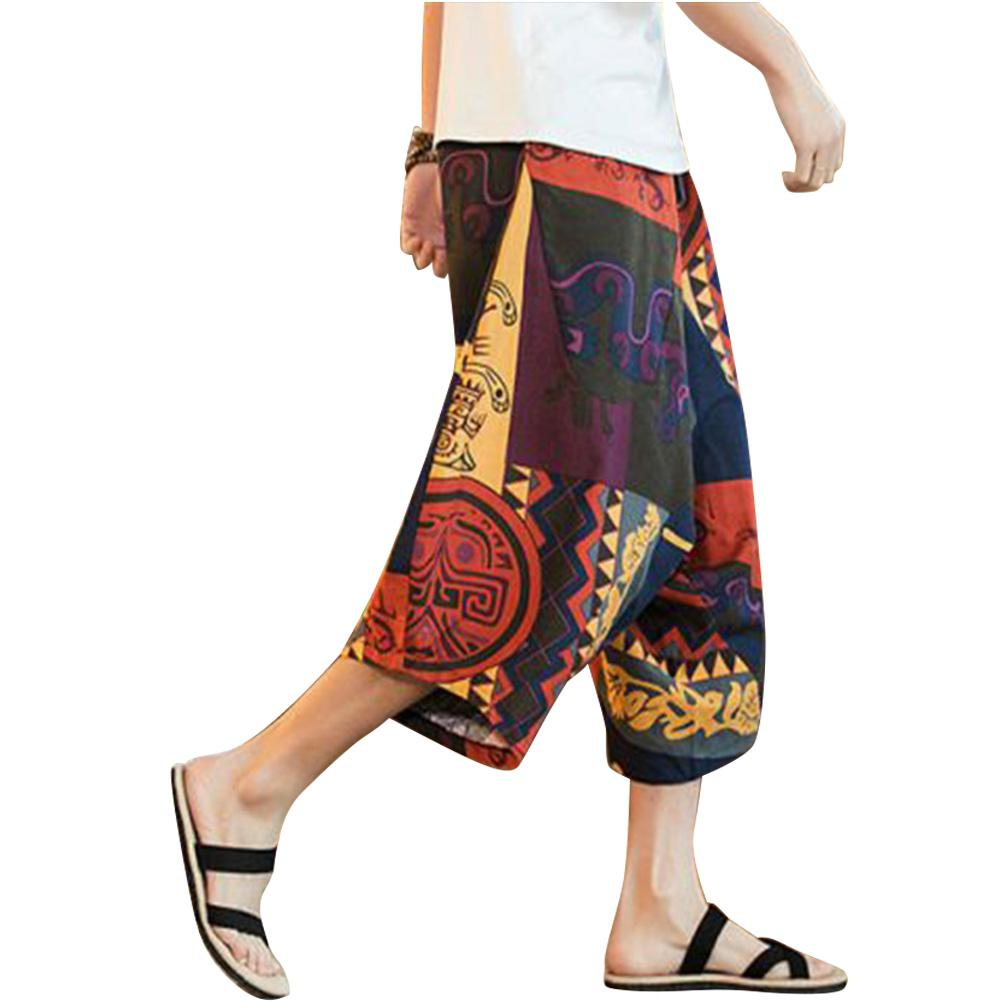 MISSKY Summer Pants Plus-Size Vintage Chinese-Style Casual Slacks Drawstring Printing