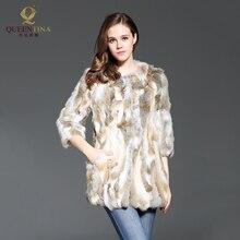 Для женщин Кролик Меховая куртка Натуральный мех Пальто и пуховики для Для женщин зима-осень Мех жилет пальто; модная верхняя одежда; Высокое качество Новый Натуральный мех пальто
