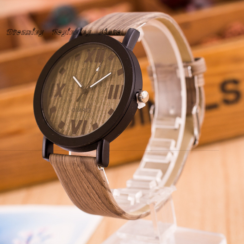 High Quality Roman Numerals Wood Leather Band Analog @