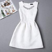 Size S 2XL 2016 New Spring Summer Autumn Women O Neck Sleeveless Solid Color Appliques Ball